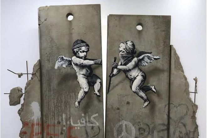 Banksy, contre le conflit israelo-palestinien au World Travel Market de Londres